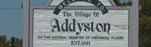 Sign saying welcome to the village of Addyston