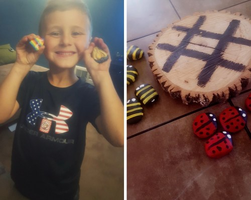 two pictures - one of young boy holding up two painted rocks, one of homemade tic-tac-toe set with painted rocks