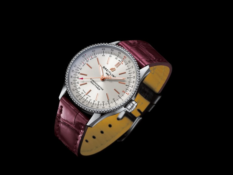 07 Navitimer Automatic 35 With A Silver Dial And A Burgundy Alligator Leather Strap 1 1024x768