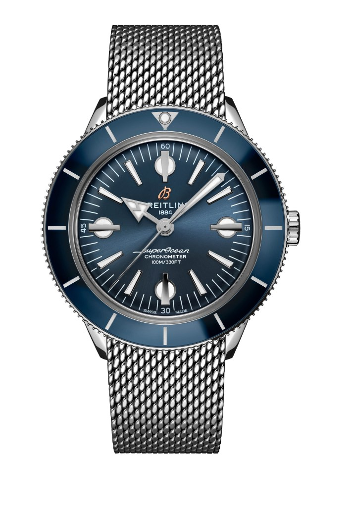 07 Superocean Heritage 57 With A Blue Dial And An Ocean Classic Stainless Steel Bracelet A10370161c1a1 713x1024