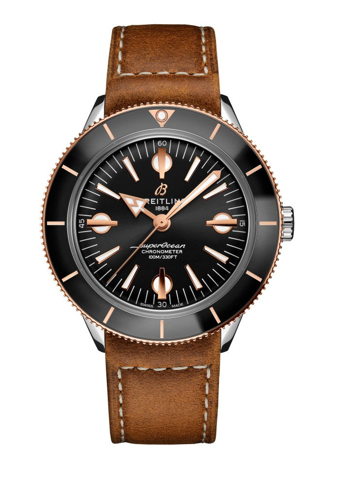 08 Two Tone Superocean Heritage 57 With A Black Dial And Gold Brown Vintage Inspired Leather Strap U10370121b1x1 713x1024