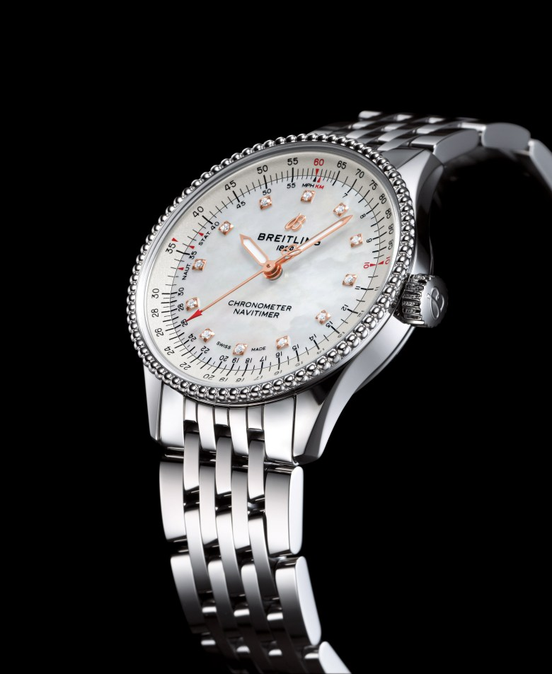 10 Navitimer Automatic 35 With A White Mother Of Pearl Dial With Diamond Hour Markers And A Stainless Steel Navitimer Bracelet 1 838x1024