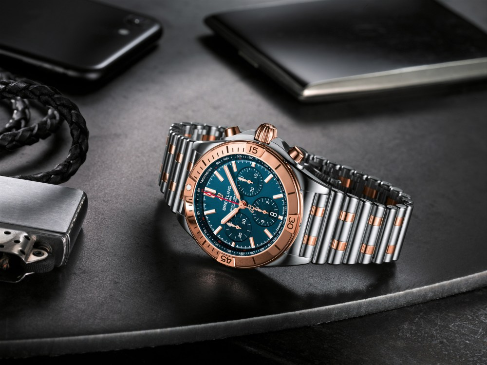 16 Two Tone Chronomat B01 42 With A Blue Dial And Tone On Tone Chronograph Counters Highlighted By An 18 K Red Gold Bezel Crown And Pushers 1024x767