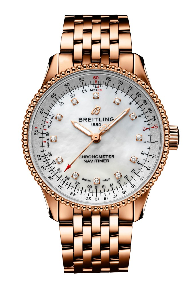 29  Navitimer Automatic 35 In 18 K Red Gold With A White Mother Of Pearl Dial With Diamond Hour Markers And An 18 K Red Gold Bracelet Ref R17395211a1r1 665x1024