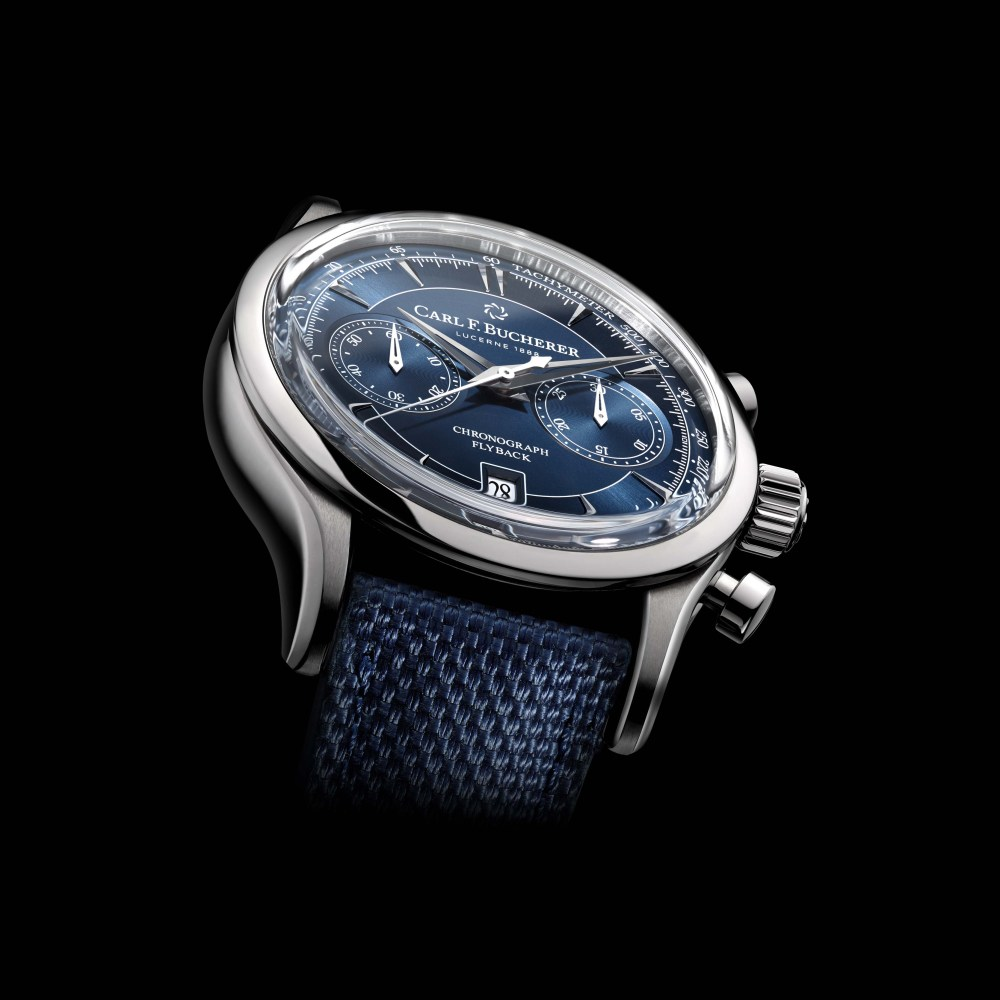 Manero Flyback With Blue Dial And Blue Textile Strap 00 10919 08 53 01 PR 02 1024x1024