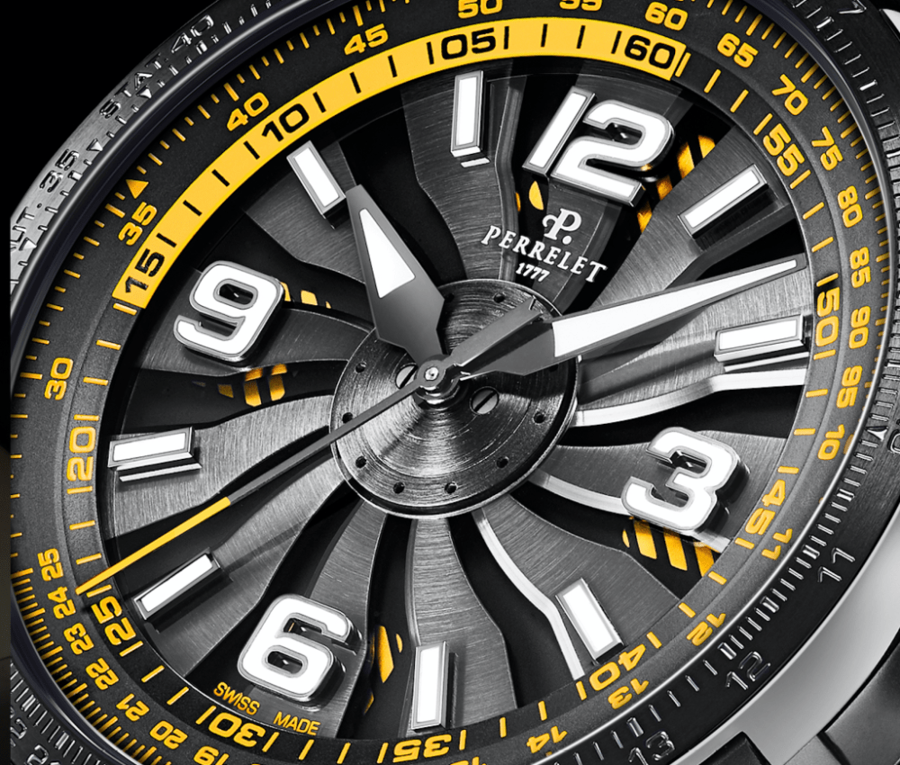 Close up of yellow Perrelet watch new Perrelet Turbine Pilot