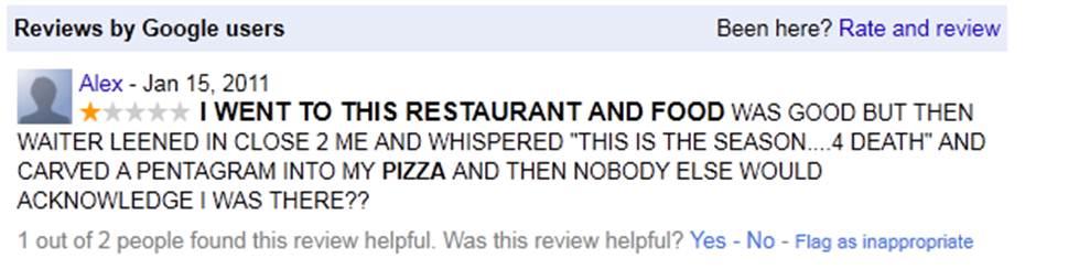 Maar het eten was lekker