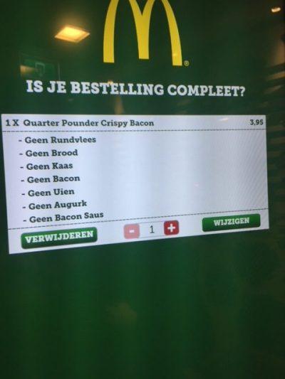 McDonald's burger zonder alles
