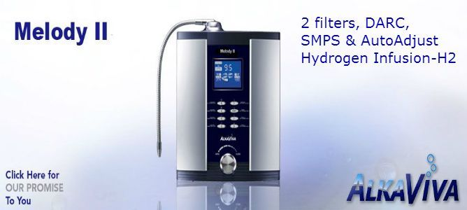 AlkaViva Melody II H2 water ionizer & purifier-2 water filters ,DARC 2-DUAL AutoReverse Cleanse for electrodes, 5 electrodes SmartDesign, SMPS & AutoAdjust, Hydrogen water Infusion,RealTime FlowControl