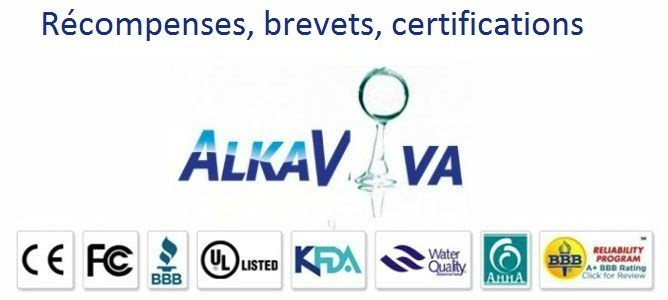 récompenses, brevets, certifications ioniseurs d'eau AlkaViva IonWays EmcoTech Jupiter Biontech