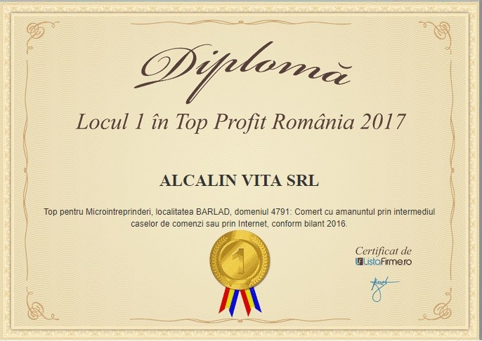 locul 1 top profit Romania 2017 Alcalin Vita SRL