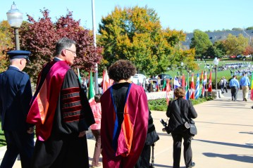 President Sands exits Burrus Hall after the installation ceremony
