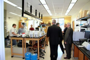 President Sands and Vice Provost Finney tour the lab