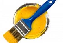kaleng-cat-warna-kuning-dan-kuas