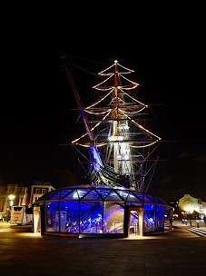 Christmas lights on the Cutty Sark