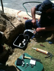 Electrician connecting water bore Perth
