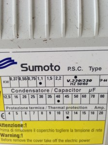 Sumoto start box for 1.1 KW bore