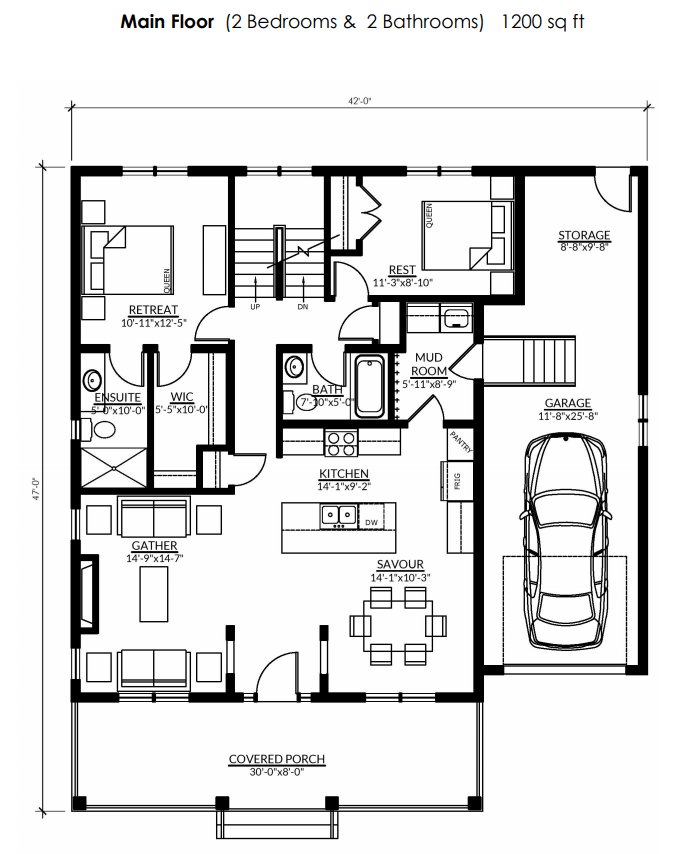 The floorplan of the Rideau with a loft at Watercolour Westport.