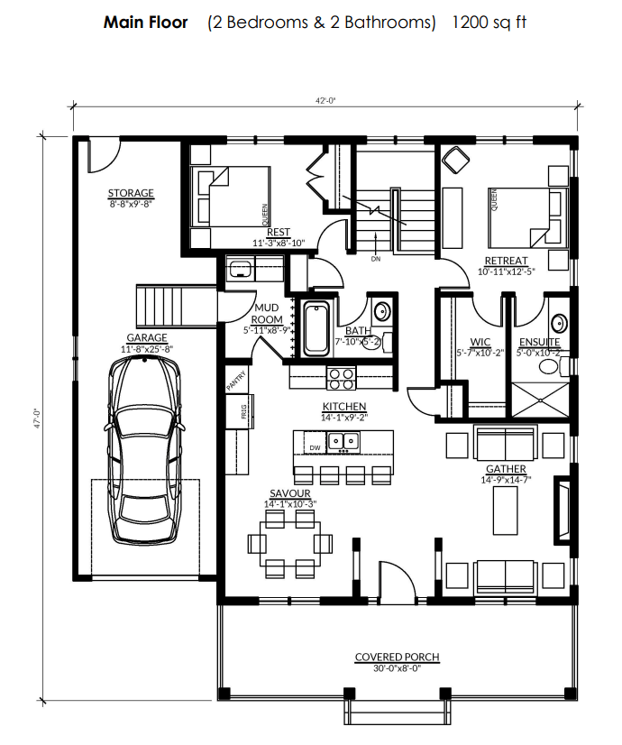 The floorplan for the Rideau at Watercolour Westport.
