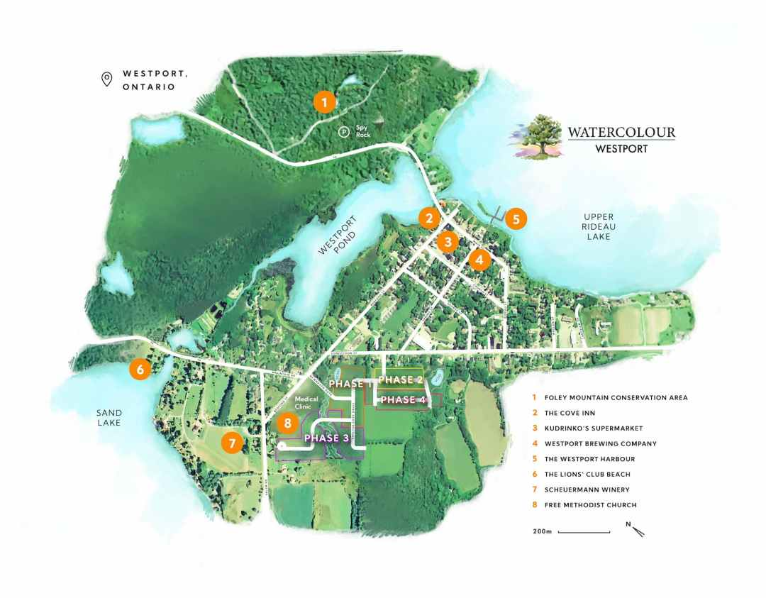 A staging map of the Watercolour Westport development.