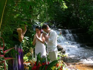 Waterfall wedding picture