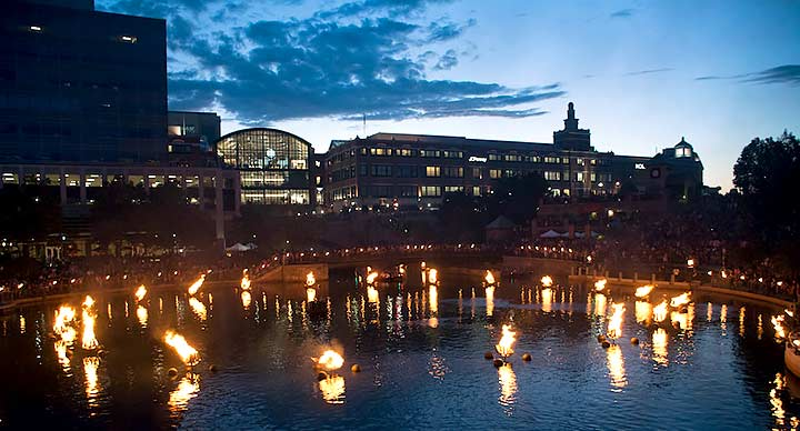 Waterplace Basin just after the WaterFire Lighting Ceremony. Photo by Ariana White.