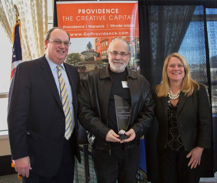 PWCVB Board Chair Jeffrey Hirsh joined Martha Sheridan in presenting the award to Barnaby Evans.