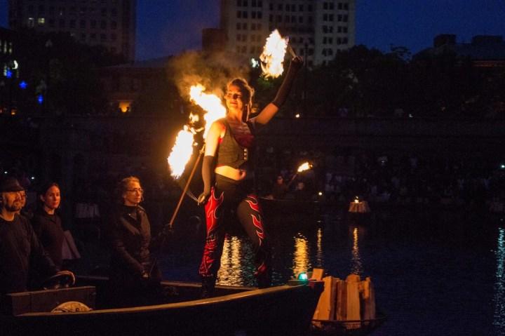 Fire dancers Liz Knights from Cirque de Light. Photo by Jen Bonin.
