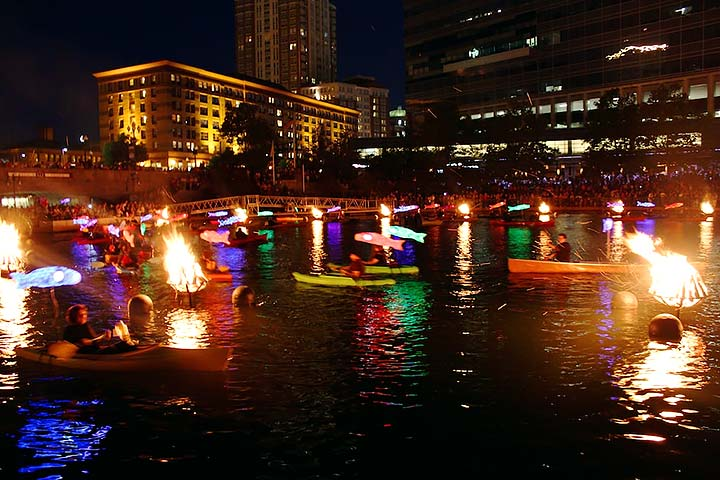Clear Currents paddlers in the Waterplace Park Basin. Photo by Erin Cuddigan.