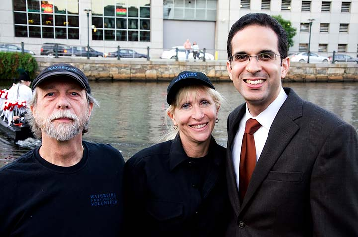 Fern Rouleau (center) with former Providence Mayor Angel Taveras. Photograph by Emily Chadwick.