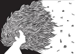 'It Blew and it Blew', Paul Bokslag, White Papercut, 60 x 84 cm, 2014.
