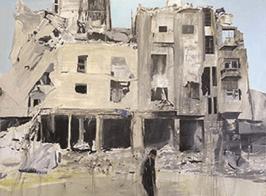 Brian Maguire, Aleppo 5, 2017, acrylic on linen, Courtesy of Fergus McCaffrey, New York / Tokyo