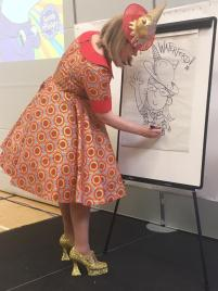 Sarah McIntyre illustrates during the festival