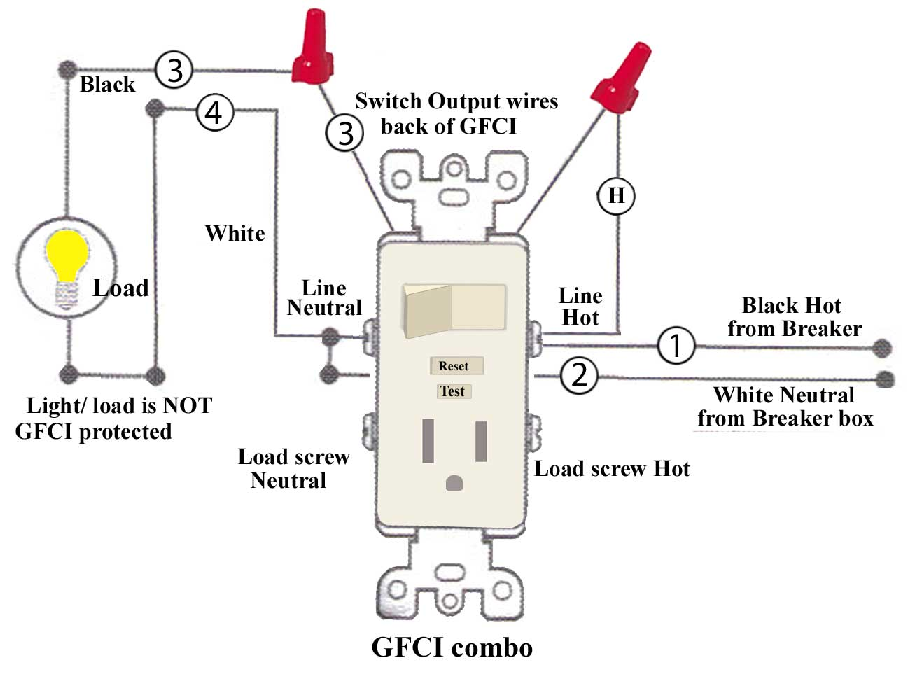 To Light Switch Wiring Diagram For Gfi Schematic