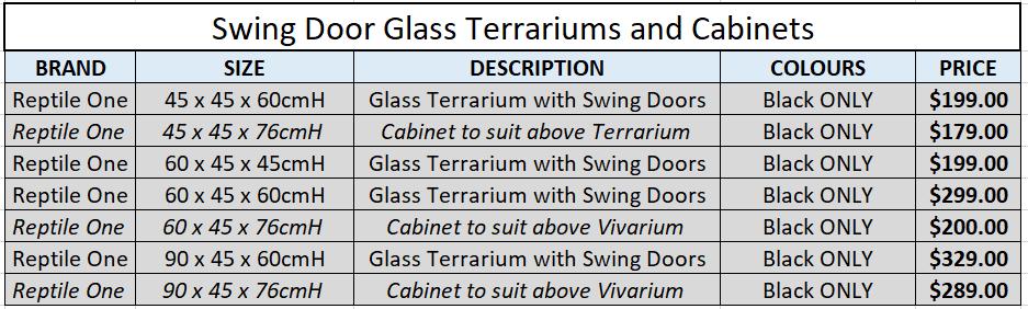 Swing Door Terrariums and Cabinets