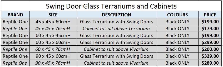 Swing Door Terrariums and Cabinets