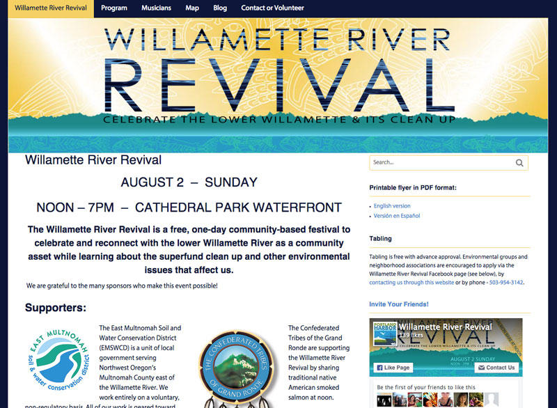 The Willamette River Revival website