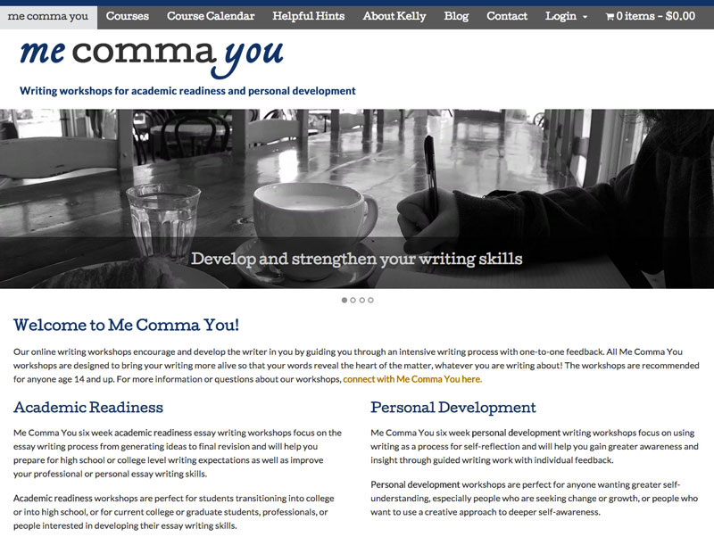Screenshot of Me Comma You eLearning website