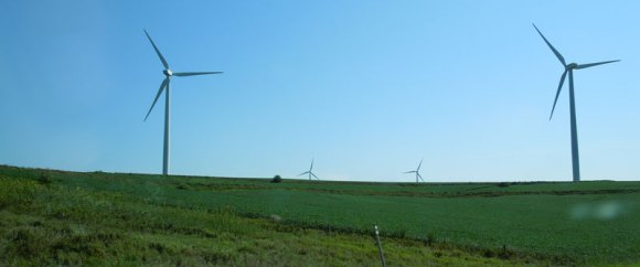 Windmills and farmland along Hwy. 80 in Iowa.