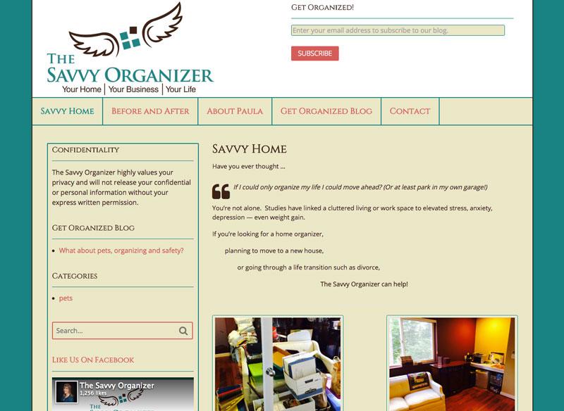 The Savvy Organizer website home page