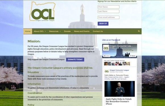 Oregon Consumer League website