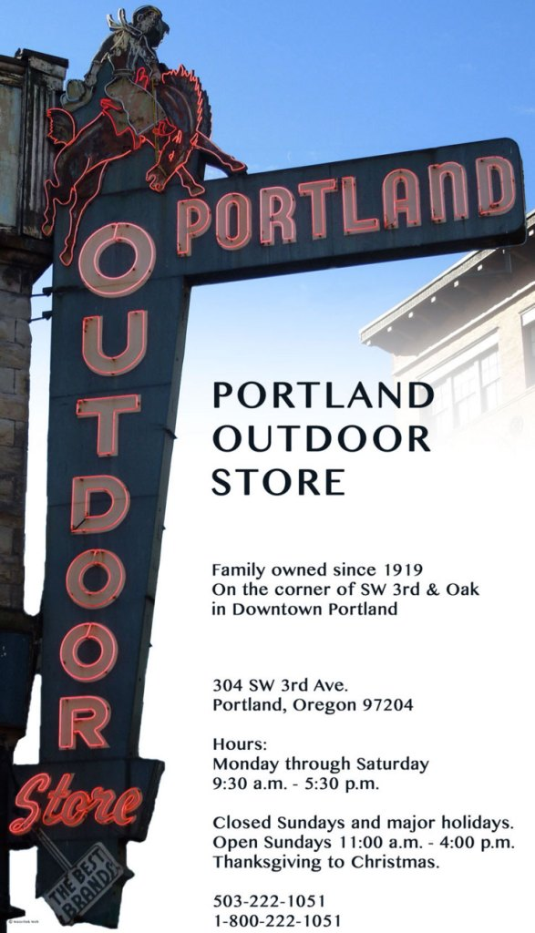 Portland Outdoor Store iconic sign and website screenshot