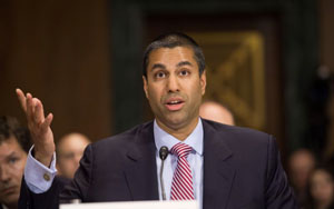 Ajit Pai testifying on net neutrality before a Senate subcommittee in 2016.