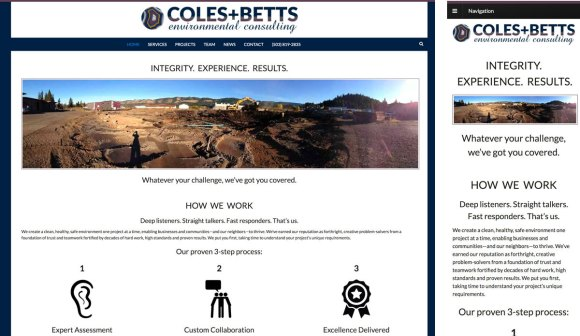 Coles and Betts website in full and mobile versions