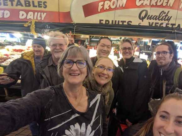 Portland WordPress members at Pike Place Market, Seattle WordCamp November 2019