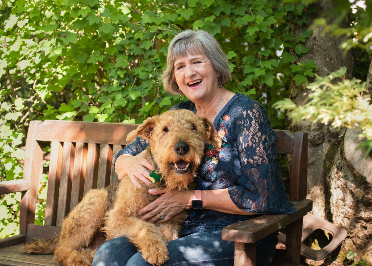Mary Ann Aschenbrenner and her Airedale Terrier, Jackson
