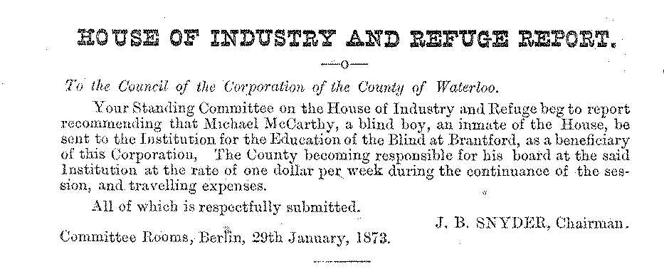 1873 Journal of Proceedings and By-Laws of the Municipal Council of the County of Waterloo; Source: Region of Waterloo Archives