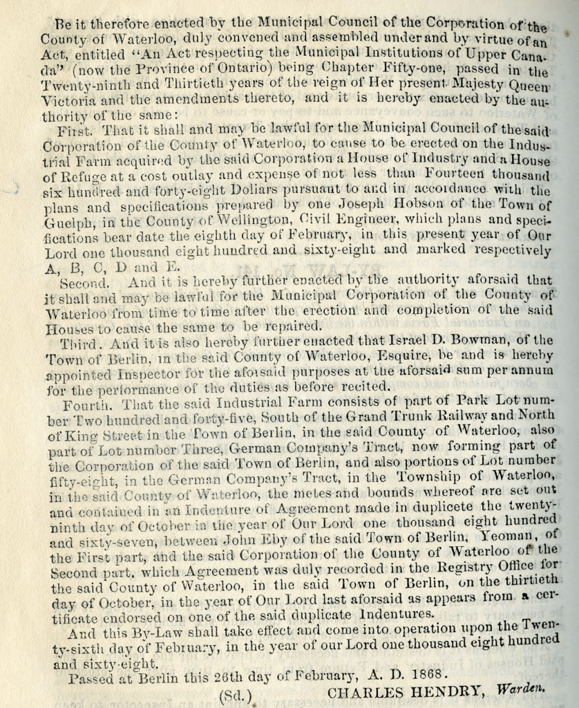 1868 Journal of Proceedings and By-Laws of the Municipal Council of the County of Waterloo; Source: Region of Waterloo Archives