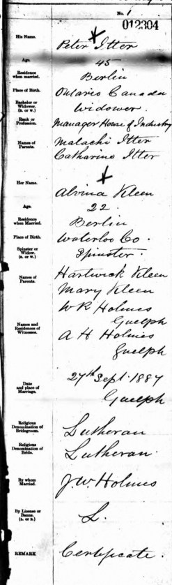 Peter and Alivina's Marriage Certificate; Source: ancestry.ca