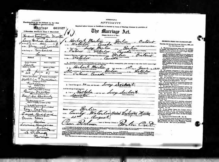 1911 Herbert and Lucy's Marriage Certificate; Source: ancestry.ca